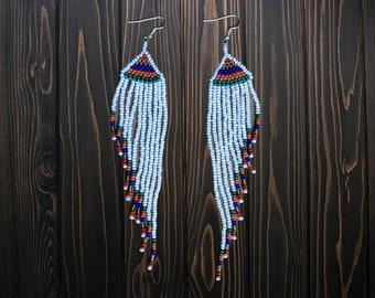 NATIVE Amazon tribal long beaded  EARRINGS