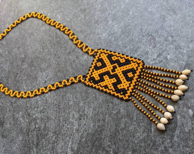 Authentic SHIPIBO SHAMANIC necklace small pechera  Xao Kene  milenial ancestral design