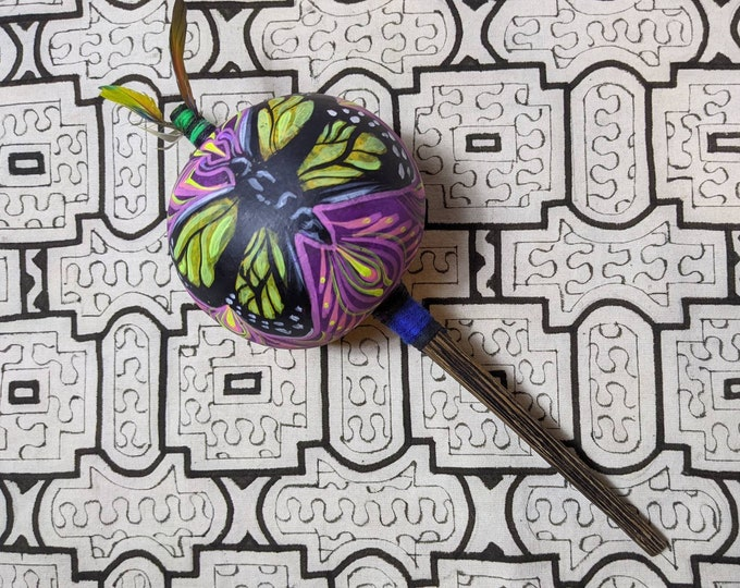 Large SHIPIBO gourd MARACA  Rattle handpainted Jaguar/butterfly psychedelic art