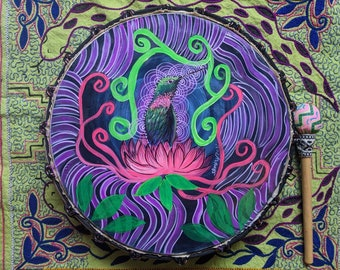 SHIPIBO PSYCHEDELIC Shamanic DRUM and drumstick  painted by artist Shimpu Cosmic Hummingbird 15in 38 cms