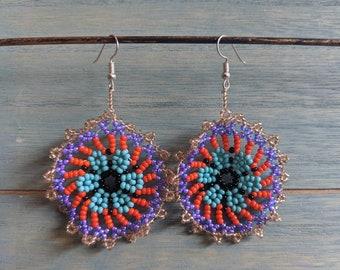 Aunthentic SHIPIBO  AYAHUASCA mandala  pattern beaded  EARRINGS