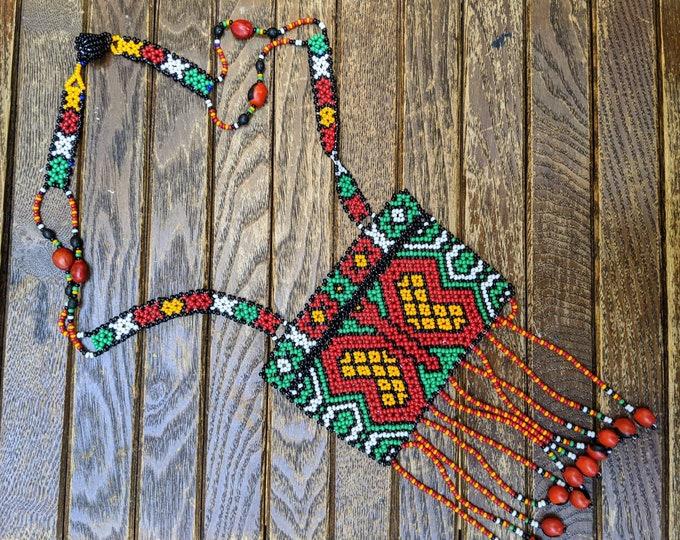 SHIPIBO  SHAMANIC bib NECKLACE tribal  Kene Butterfly  design