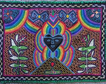 SHIPIBO RAINBOW  HEART  tapestry handmade authentic tribal altar shrine cloth