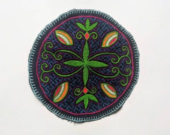 "9.5"" AYAHUASCA SHIPIBO flower of Life round mandala  tapestry cloth patch"