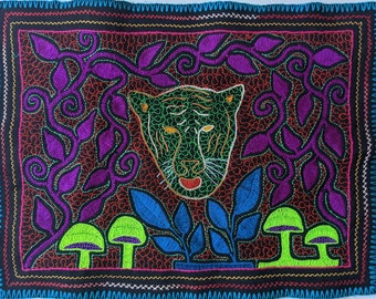 Authentic JAGUAR SHIPIBO handmade embroidery tapestry