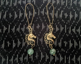 UNICORN modern vintage drop  earrings with recycled semi precious AGATE  gemstone