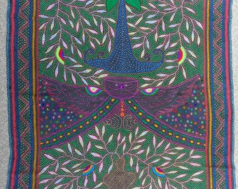 """47.25""""x60 """"GIANT SHIPIBO  TAPESTRY wall hanging Owl Spirit Animal  shamanic ceremonial embroidered table cloth one of a kind"""