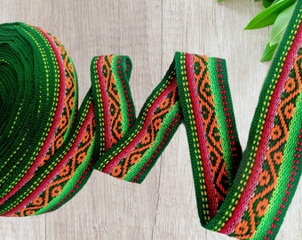100 cms / 1.09 Yd Andean INKA PERUVIAN Bohemian wool woven ribbon Ethic tribal Handmade by loom 1.5 in / 4 cm