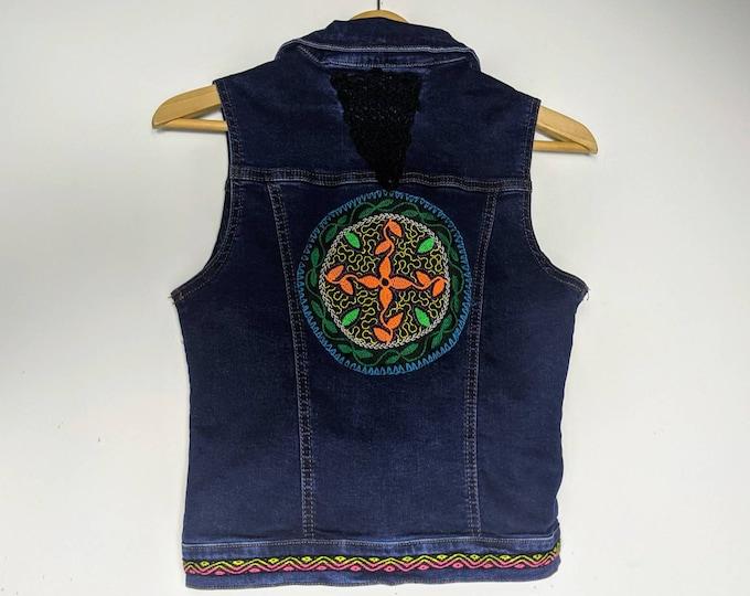 REWORKED SHIPIBO AYAHUASCA denim dark blue jean jacket Vest Size women's xs