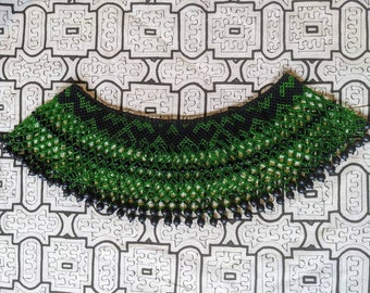 SHAMANIC BIB NECKLACE Maxi Pechera  green Unique one of a kind exclusive  design with seeds