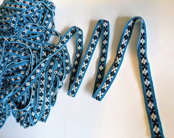 100 cms / 1.09 Yd Andean INKA PERUVIAN Bohemian wool woven ribbon  Handmade by loom 0.55 in / 1.4 cm