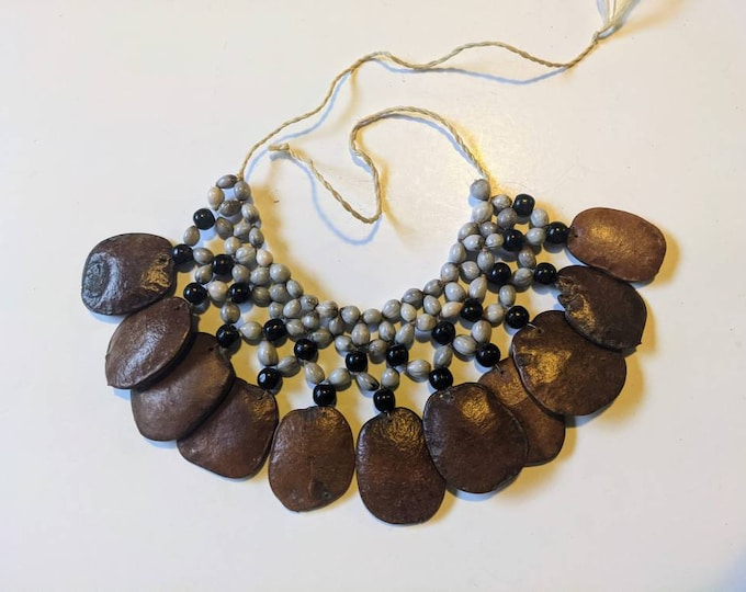 AUTHENTIC SHAMANIC Necklace handmade by Indigenous tribe BORA woven with amazonian seeds