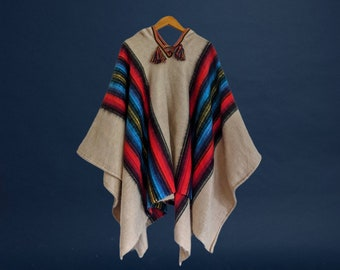 HOODED ALPACA PONCHO unisex shamanic ceremonial outfit Andean Cuzco Peruvian cape ivory blue red stripes