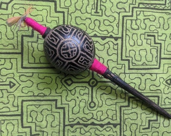 Small SHIPIBO Maraca Rattle carved engraved KENE AYAHUASCA orange  feather