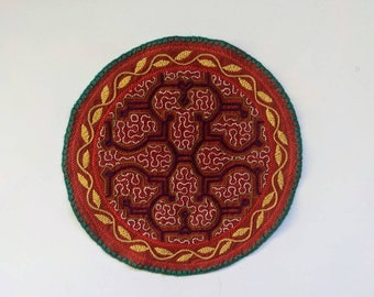 Maya KENE SHIPIBO CLOTH round patch healing art for  altar shrine  shamanic tapestry  25 cm/9.75 in
