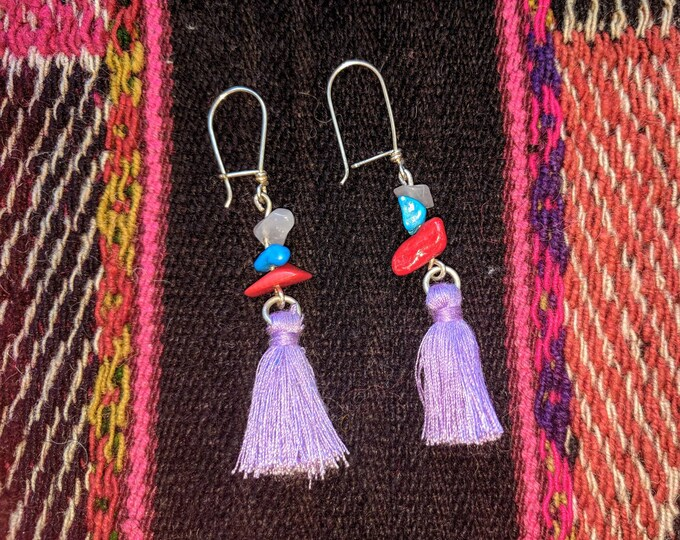 Purple TASSEL, SILVER 925 and semiprecious recycled  GEMSTONES colorful  earrings