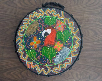 SHIPIBO PSYCHEDELIC Shamanic DRUM 14 in/36 cms painted by artist Inin Soi  Guacamayo Parrot   spirit animal