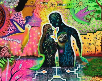 TWIN FLAMES  SHIPIBO artist Inin Soi psychedelics vision from plant medicine Ayahuasca Glice Canvas print reproduction
