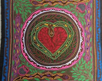 "57"" HUGE Giant SHIPIBO  wall hanging TAPESTRY ceremonial table cloth Heart opening anaconda cósmica abrete corazon"