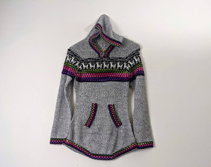 PERUVIAN ALPACA SWEATER with hood and front pockets  size xs-s gray