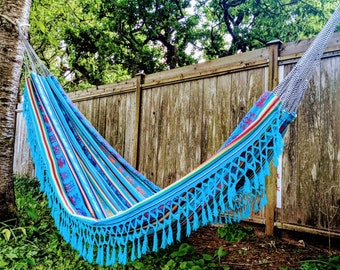 NATIVE HAMMOCK South American design large  roomy wide colourful boho bohemian style canvas  with fringes for patio indoors outdoors camping