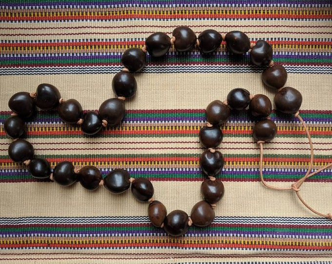 Brown Hawaian  KUKUI Nuts natural beads and LEATHER  Shamanic necklace handmade for healing  good luck and protection