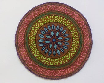 SHIPIBO MANDALA  four directions altar shrine tapestry authentic handmade embroidered patch