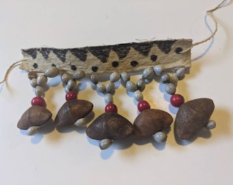 AUTHENTIC Tribal ANKLET handmade by Indigenous tribe BORA woven with fish skin and amazonian seeds