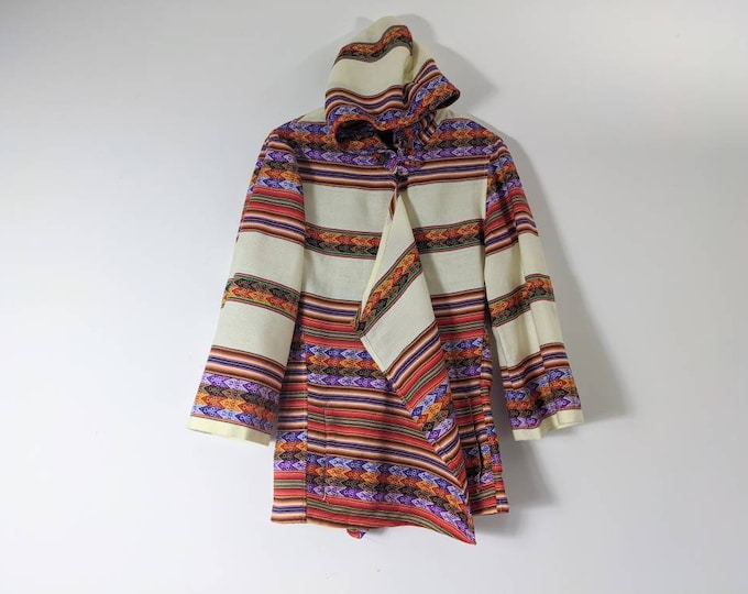 HOODED PERUVIAN JACKET made of Andean Inka pattern light ivory cream wooly  fabric one of a kind size Unisex size women's M men's S