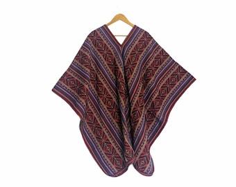 INKA Q'ERO PONCHO authentic unisex shamanic ceremonial outfit Andean Cuzco Peruvian red blue stripes  cape