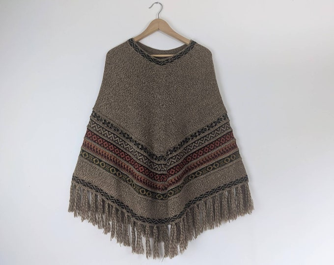 BABY AlPACA PONCHO colorful  Bohemian Boho Andean Peruvian look taupe striped fringed  cape