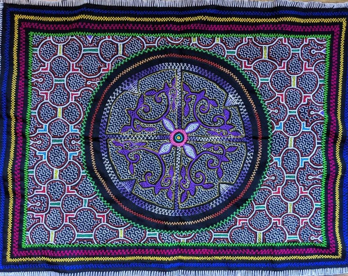 Large SHIPIBO AYAHUASCA tapestry with Maya Kene Amazonia patterns