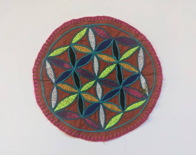 SHIPIBO MANDALA Flower of Life round patch  21.5 cm/ 8.5 in