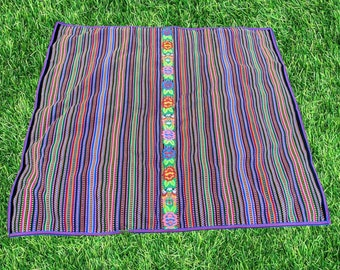 ANDEAN PERUVIAN RUG beach picnic Blanket table cloth wall hanging tapestry purple stripes