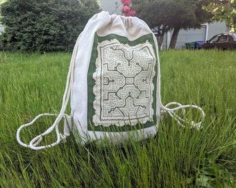 EXCLUSIVE Handpainted  SHIPIBO raw denim yoga sac BACKPACK  shamanic bag
