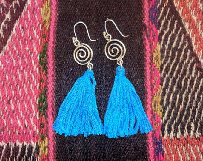Antiqued Silver  925  blue  tassel earrings with Peruvian PACHAMAMA charm