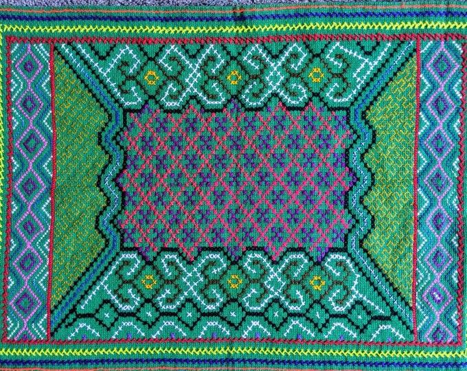 SHIPIBO altar cloth KENE mandala tapestry  handmade authentic Peruvian tribal healing aart