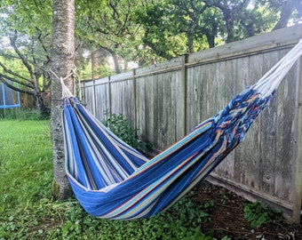 NATIVE HAMMOCK South American design colourful boho bohemian style canvas  with fringes for patio indoors outdoors camping single occupancy