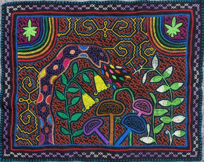The MAGIC of MUSHROOMS psilociban fungi plant  medicine Ayahuasca Cannabis  SHIPIBO tapestry altar shamanic cloth wall hanging home decor