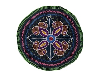 AYAHUASCA SHIPIBO CLOTH round patch healing art for  altar shrine  shamanic tapestry  21cm/8.25 in