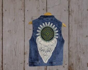 REWORKED SHIPIBO CHAKANA denim light  blue jean jacket Vest Size women's M