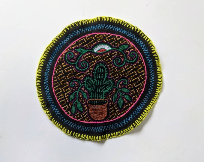 SAN PEDRO cactus  SHIPIBO round tapestry flower of life  cloth patch