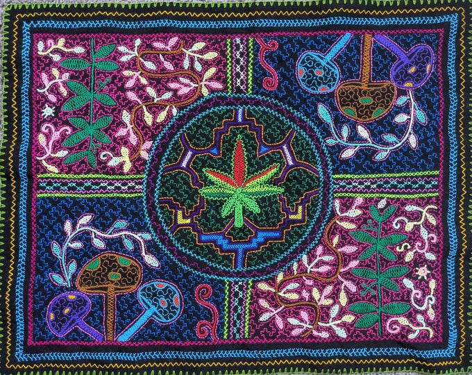 MEDICINAS CANNABIS psilociban fungi  Ayahuasca Chacruna  SHIPIBO Tapestry shamanic cloth for altar shrine or wall hanging home decor