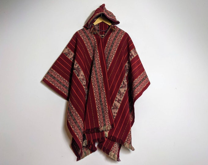 HOODED PERUVIAN PONCHO shamanic ceremonial outfit Andean Peruvian cape