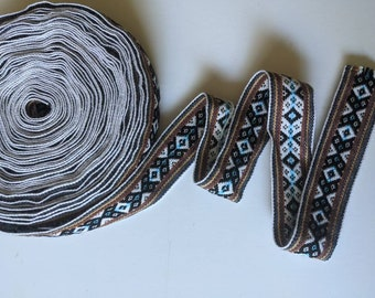 100 cms / 1.09 Yd Andean INKA PERUVIAN Bohemian wool woven ribbon  Handmade by loom 1.5 in / 4 cm