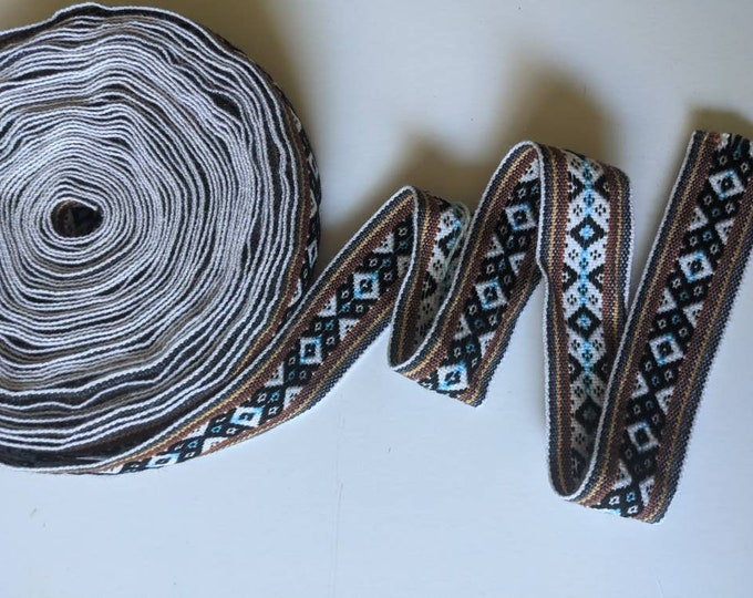 100 cms / 1.09 Yd Andean INKA PERUVIAN Bohemian wool woven ribbon  Handmade by loom 1.5 in / 4 cm