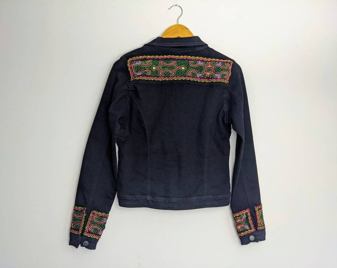 REWORKED SHIPIBO distressed black  denim jacket  with sherpa lining women's size small