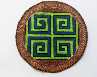 SHIPIBO MANDALA KENE four directions altar shrine tapestry authentic handmade embroidered patch