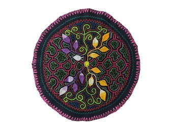 AYAHUASCA SHIPIBO CLOTH round patch healing art for  altar shrine  shamanic tapestry  23cm/9 in