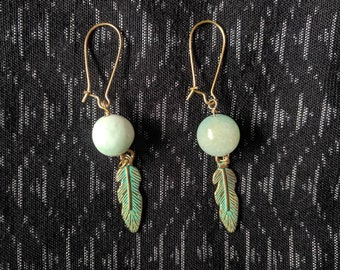 GOLDEN FEATHER earrings made with recycled real semi precious gemstone